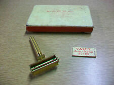 Vintage Valet Auto Strop Razor goldtone metal with one blade & box