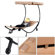 Outdoor Single Lounge Chairs Bed Patio Pool Chaise Lounger Hammock w/ Sun Shade