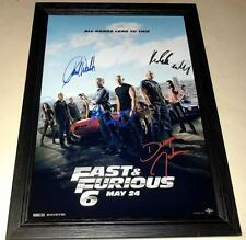 "FAST & FURIOUS 6 CAST PP SIGNED & FRAMED 12""X8"" POSTER VIN DIESEL PAUL WALKER"