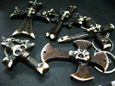 10PCS Cool Man's Devil Skull Head Cross Death Knight Mix style Gothic Keychains