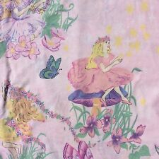 Vintage Fairy Fabric Cotton Blend Sheeting Pink Blue Green Craft Sew