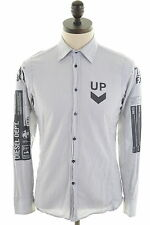 DIESEL Mens Shirt Small White Pencil Stripe Cotton