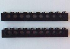 LEGO 2730 Noir Technic Lot de 2 Brique Poutre Trou 1x10 Brick Holes Black