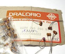 20x Draloric Keramik Röhren-Kondensator, 33 pF / 250 Volt, für Röhren-Tuner / HF