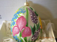 LOVELY SPRING FLORAL EASTER EGG SHAPED BLOWN GLASS ORNAMENT - MUST SEE!!