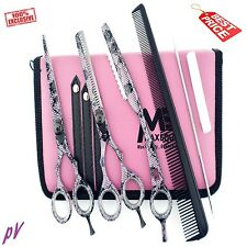 "Hairdressing 5.5"" Scissors Barber Shears Salon Thinning PINK SET + TRIM RAZOR"