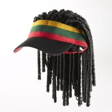 FLAIR HAIR HATS WITH HAIR JAMAICAN KNIT BEANIE VISOR W DREADLOCKS WIG RASTA FUN