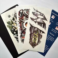 3 Sheets Arm Robot Tattoo Body Sticker Makeup for Men 3d Temporary Tattoos Paper