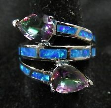 Stunning Size 8 Silver Ring Blue Fire Opal & 6*7mm Teardrop Mystic Rainbow Topaz