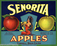 Senorita Apples Fruit Crate Label Art Print Vintage  Sexy Woman Glamour Girl