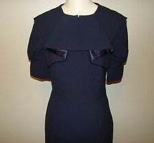 Walter Navy Blue Retro Vintage 40s Style Secretary Wiggle Sheath Dress Sz 6