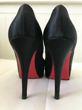 Authentic Christian Louboutin Black Satin Hyper Price Size 38.5 (fits US 7.5)