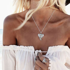 Women Ladies Alloy Elephant Pendant Silver Plated Collar Clavicle Chain Necklace