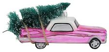 Pink Vintage Car with Tree Christmas Holiday Glass 6.25 Inch Ornament