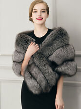 New Fashion Women Faux Mink Fur Shawl Shrug Gray Weddings Wrap Cape Evening Coat
