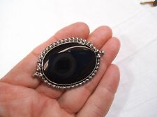 "Large Vintage Signed 1992 Sterling Silver Oval Black Onyx Brooch-2 1/8"" Pin"