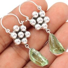 Green Amethyst Rough 925 Sterling Silver Earrings Jewelry SE109358