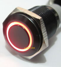 12V Waterproof Black Aluminum Metal Momentary Push On Button Switch Red Led 19mm