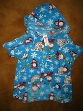 "Big Dog Soft Fleece Hoodie Coat PET PJ'S Pajamas 27"" Long Winter Igloo Penguins"