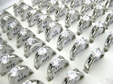 Wholesale Lots Jewelry 20pcs Resale Zirconia Stainless Steel Women's Rings J42