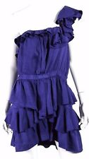 ISABEL MARANT ETOILE Indigo Blue Linen Tiered One Shoulder Mini Dress 2 M