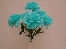"4 Bushes TEAL BLUE Carnation 6 Artificial Silk Flowers 16"" Bouquet FB341TBL"