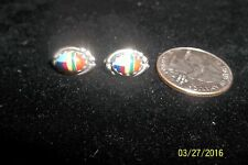 Vtg Sterling Silver Spiny Oyster Shell Turquoise Southwestern Pierced Earrings A