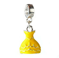 1pcs princess dress Silver Charm Beads Pendant Fit Bracelet Necklace Chain #N75
