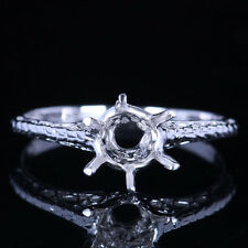 VINTAGE ANTIQUE 925 STERLING SILVER 6MM ROUND ENGAGEMENT WEDDING SEMI-MOUNT RING