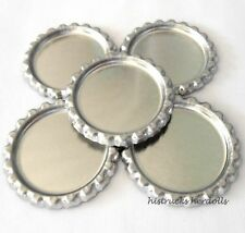 """100 pcs FLAT 1""""  CHROME SILVER BOTTLE CAPS LINERLESS Flattened No Liners"""