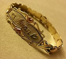 Women's 14K Solid Gold TRI-Tone Love Heart Amor Bracelet 6.75""