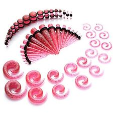 54PC Taper and Plugs Pink Glitter Spiral Gauges Kit 14G-00G Stretching