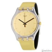 New Swatch Goldenall Metallix Gold/Black Rubber Women Watch 42mm SUOK120 $75