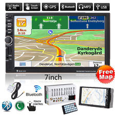 "7""GPS Nav 2DIN Bluetooth Touch Car Stereo Radio MP3 MP5 Player FM/USB/TF/AUX+Map"