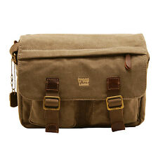 Troop London - Brown Canvas Heritage Messenger/Satchel Bag with Leather Trim