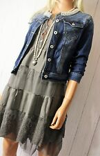 Jacke Jeansjacke  Gr. M / 38 Denim  Used-Look  Blue Strass Perlen Neu