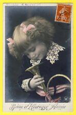 cpa Superbe Photo H. MANUEL 1908 JEUNE FILLE Cor de Chasse Dentelle BONNE ANNEE