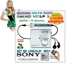 MINT! BOXED Sony MZ-NF610 Net-MD MiniDisc MDLP AM/FM Radio Recorder,USB PC-MD