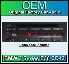 BMW 3 Series E36 CD player, BMW CD43 radio car stereo, Supplied with radio code
