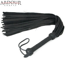 Black Genuine Cow Skin Mild Leather Flogger with 50 thick Tails whip
