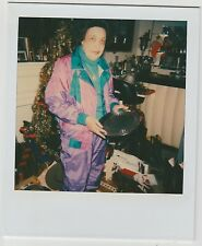 Vintage 80s Polaroid PHOTO Black Woman In Colorful Outfit Opening Gift