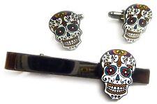 Day of the Dead All Saints Day Dia de los Muertos TIE BAR CLIP CUFFLINKS SET
