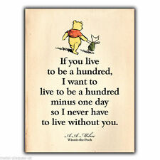 METAL SIGN WALL PLAQUE Winnie the Pooh A. A. Milne Quote print Childrens Bedroom