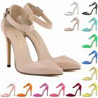 WOMENS Patent HIGH HEEL CORSET Ankle Straps Sandals WORK PUMPS COURT SHOES UK2-9