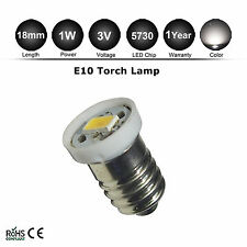 3V DC E10 LED Screw Base Indicator Bulb Warm White Torch Bike Lamp Light 5730SMD