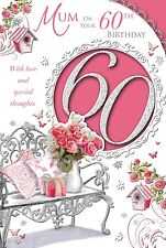 """Mum's 60th Birthday Card - 60 Today Bench, Red Roses, Gift & Bird Houses 9"""" x 6"""""""