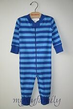 HANNA ANDERSSON Baby Organic Zip Sleeper Blue Sea Map Stripe 85 2T NWT