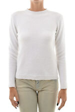 MSGM MILANO New Woman White Crewneck Jumper Sweater Size M MADE ITALY $301 SALES