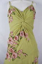 Sue Wong Green & Pink Floral Applique Tea Dress Flapper Sty Garden Party Costume