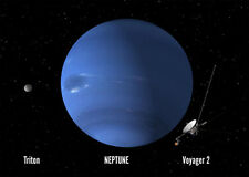 NEPTUNE with LARGEST MOON TRITON - 3D Postcard - Astronomy Greeting Card
